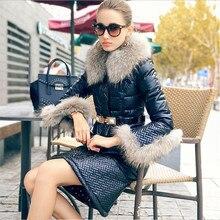 2016 зима белая утка вниз куртка костюм женщины зима вниз пальто роскошный меховой воротник белый черный ПУ пуховик женский короткий набор(China (Mainland))