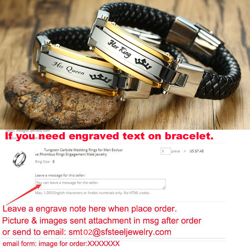 Personalized Stainless Steel Leather Bracelet For Men Women Accessories Bracelet Couples Jewelry Free Engraving  4