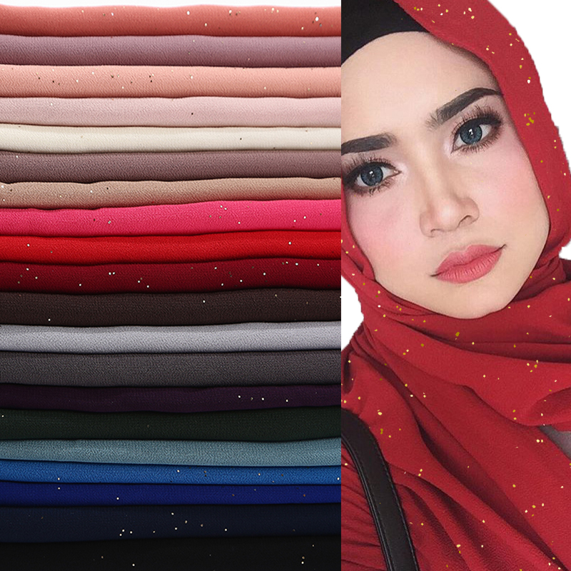 Image 2 - bubble chiffon glitter scarves shawls hijab plain shimmer long 