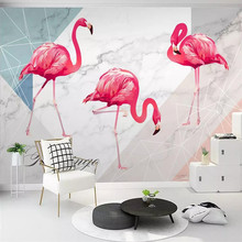 Simple flamingo art canvas background wall professional production wallpaper mural custom photo
