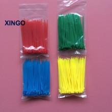 xingo 400Pcs 3x100mm Self Locking Nylon Cable Zip Ties Assorted ( Red Yellow Blue Green ) Plastics Wrap loop ties