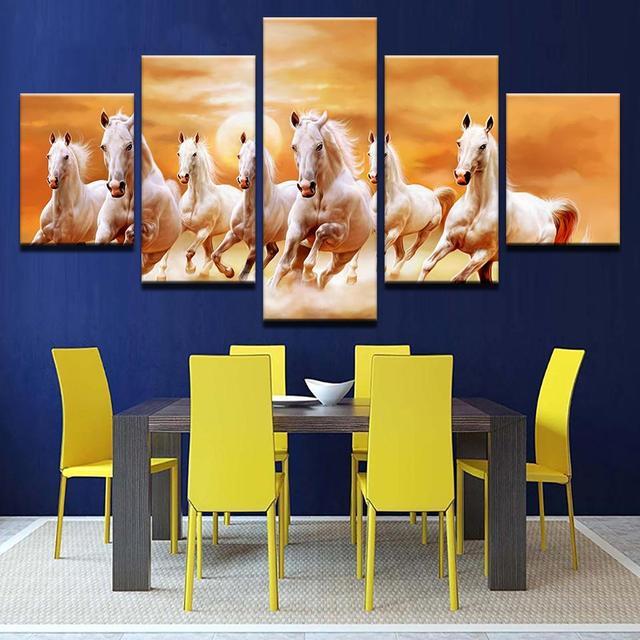 HD Print Canvas Modular Framework Wall Art 5 Panel Animal White ...