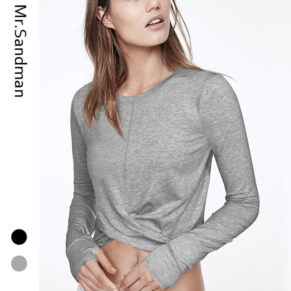 Long Sleeves women yoga top workout gym crop top twist yoga shirts with thumb hole fitness women sport shirts active wear
