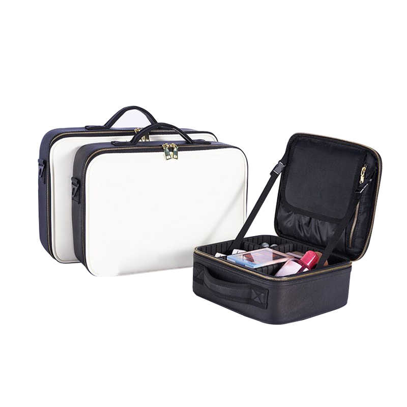 Professional Cosmetic Bag Zipper Make Up Box Beauty Case Toiletry Brushes Organizer Beautician Necessary Travel Accessories
