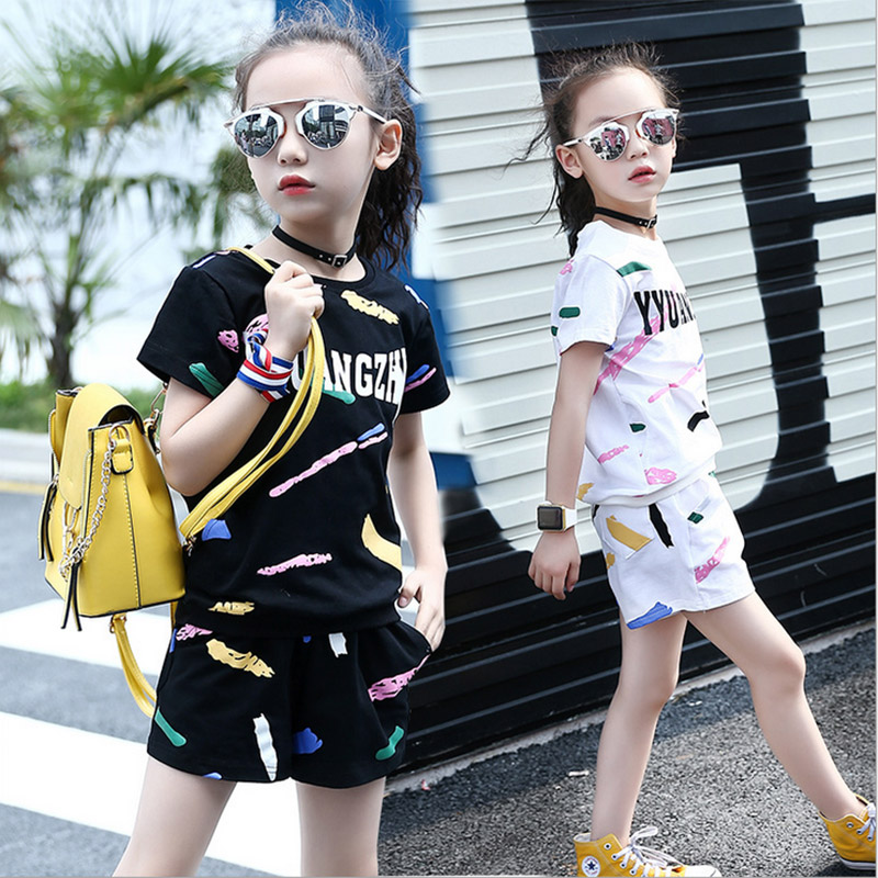 Infant clothes toddler 2017 summer baby girls clothing sets letter two piece set T-shirt+pant kids costumes 3 4 6 8 10 12 years summer girls boys clothes kids set velvet hello kitty cartoon t shirt hoodies pant twinset long sleeve velour children clothing