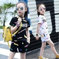 Infantile vêtements bébé 2017 d'été de bébé filles vêtements définit lettre deux pièce ensemble T-shirt + pantalon enfants costumes 3 4 6 8 10 12 ans