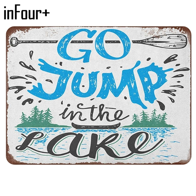 Go Jump In The Lake Poster Bar Wall Decor Metal Sign Vintage Home New Lake Signs Wall Decor