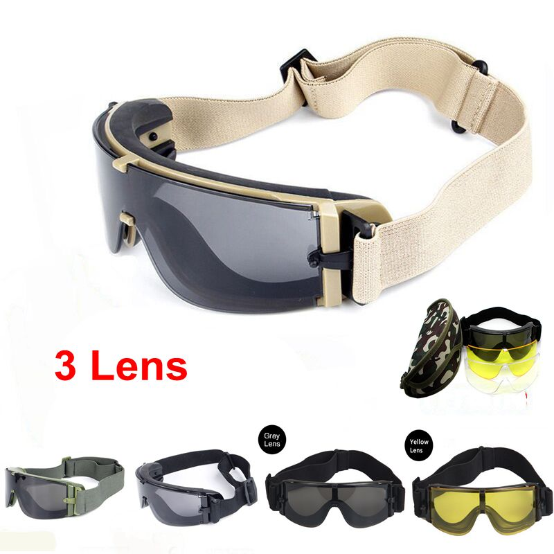 ddbf6c5d6ae59 Alta Qualidade Militar Airsoft Tactical Goggles Óculos de Tiro X800 3 Lens  Motocicleta Preta Wargame Óculos