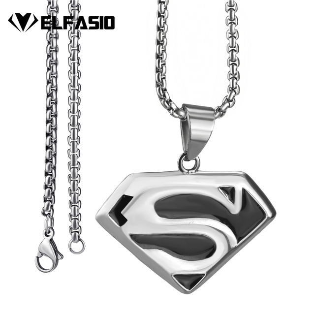 Elfasio mens stainless steel pendant necklace superman chain elfasio mens stainless steel pendant necklace superman chain jewelry length 45 90cm aloadofball Image collections