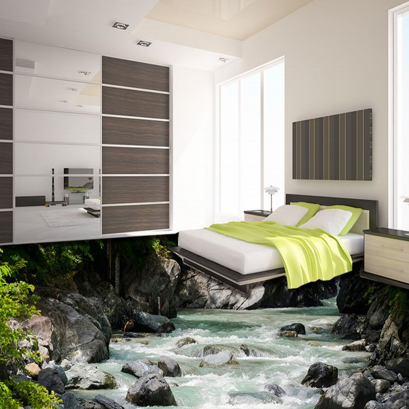 Free Shipping bathroom flooring painting 3D outdoor mountain stream creek landscape self-adhesive PVC floor wallpaper mural free shipping star galaxy cosmos 3d flooring painting wallpaper restaurant tea house self adhesive pvc floor mural