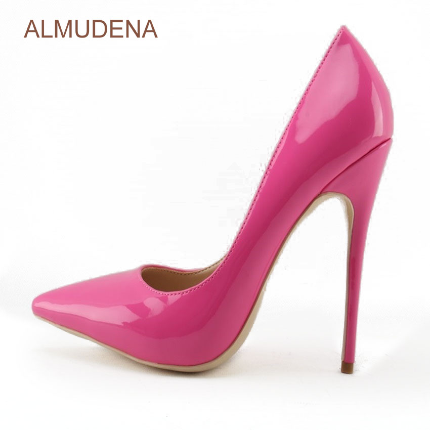 ALMUDENA Women Gorgeous Rose Red Patent Leather High Heel Shoes Designer Pointed  Toe Pumps Thin Heel Party Shoes Dropship -in Women s Pumps from Shoes on ... 1519cab626e4