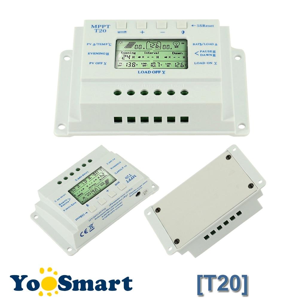 купить 20A Solar Charge Controller 12V 24V LCD Solar Panel Regulator Dual Timer Function for Solar Lighting System Solar Controller T20 недорого