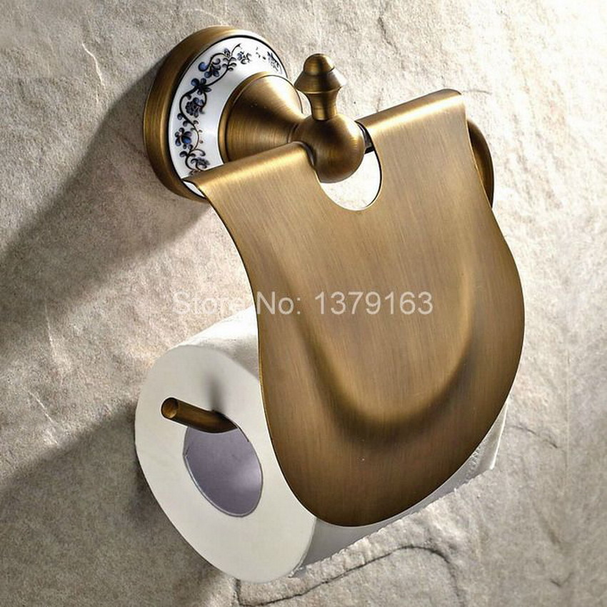 Bathroom Accessory Antique Brass Ceramic Base Wall Mounted Bathroom Fitting Toilet Paper Roll Holder aba405 diamond ceramic base golden brass bathroom toilet paper holder wall mounted
