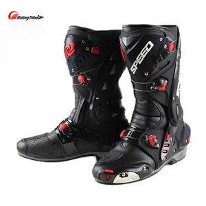 Image 2 - Ulepsz buty motocyklowe Pro wyścigi otwieranie butów profesjonalna jazda antypoślizgowe skórzane buty motocyklowe Mircrofiber