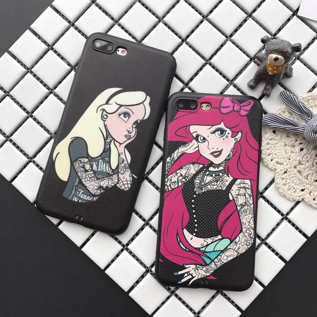 Newest High Quality Sexy Tattoo Princess Alice Mermaid Phone Case For Iphone 6 6s 6Plus 6s Plus 7 7 Plus Silicon Soft Case Cover