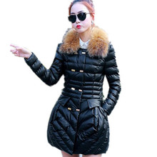 2016 warm winter coat female long section thick padded jacket Slim Down Nagymaros collar coat