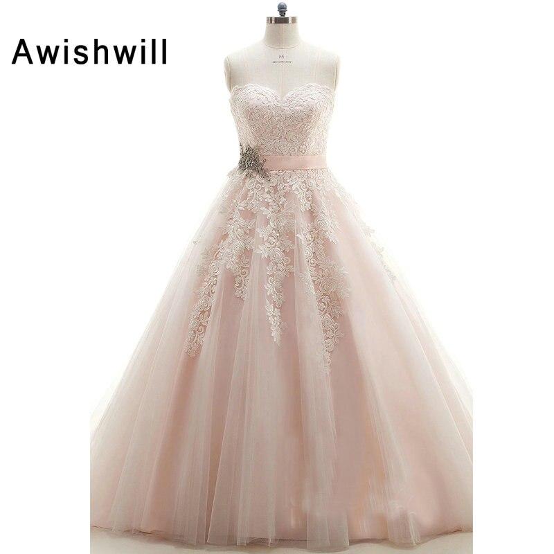 Pink Wedding Dresses 2019: Light Pink Wedding Dresses 2019 Sweetheart Neck Lace