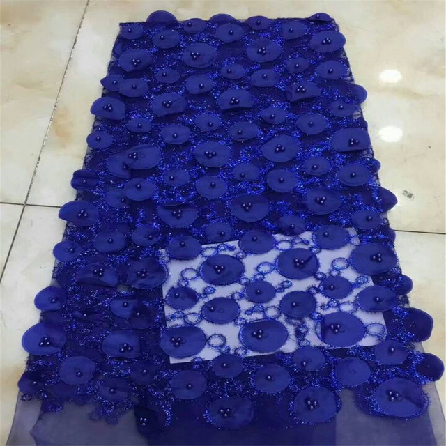 Beautiful Royal Blue 3D lace fabric, French lace fabric with highlights and beads, for wedding gowns / parties HJ264-1