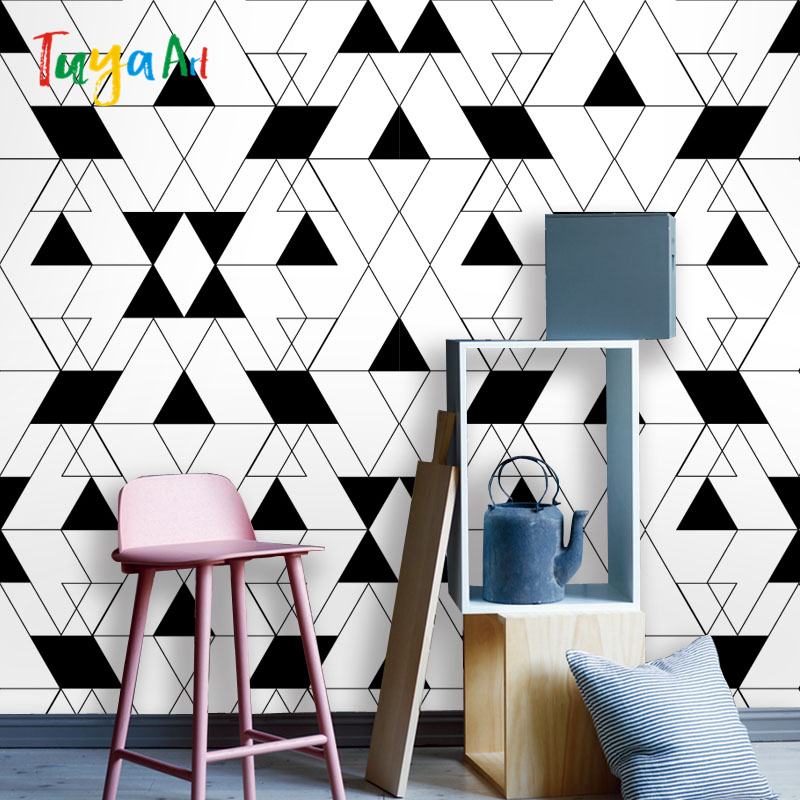 Cutom wall paper mural on the wall wholesale simple black and white geometric  for office living room bed room mural wallpaper