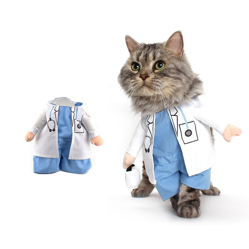 Funny Cat Costume Doctor Suit Pet Dogs Clothes Uniform Clothing