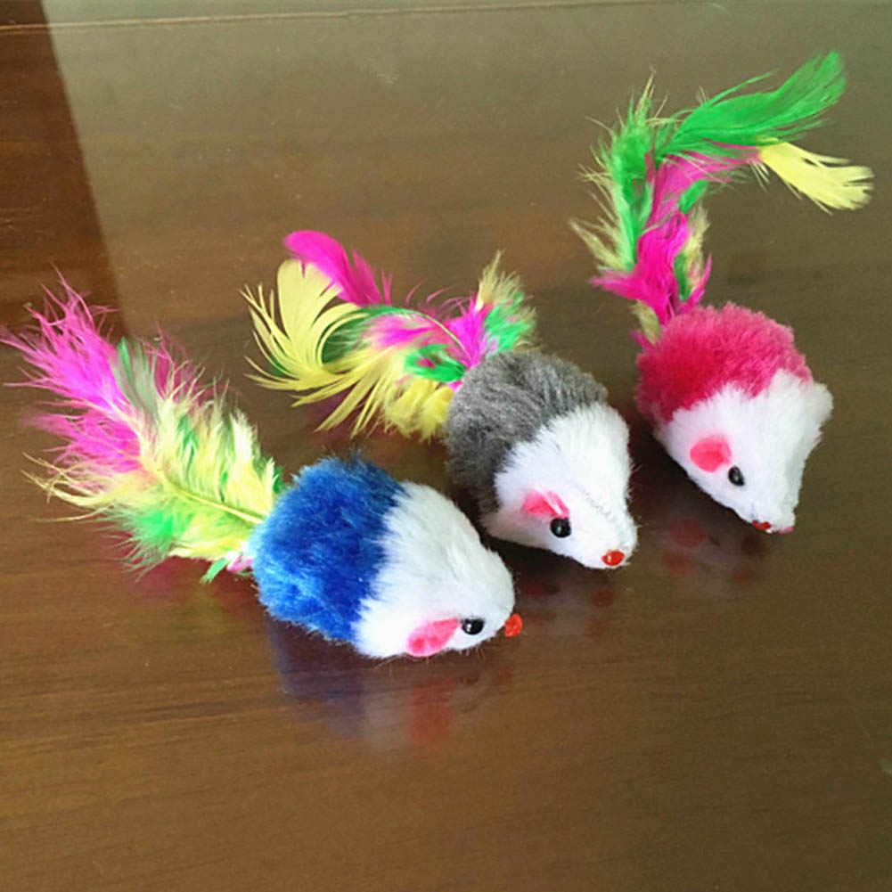 Новый питомец для кошек, собак, котят, играющие игрушки игрушечная мышь игрушки для крыс Перо хвоста цвет случайный