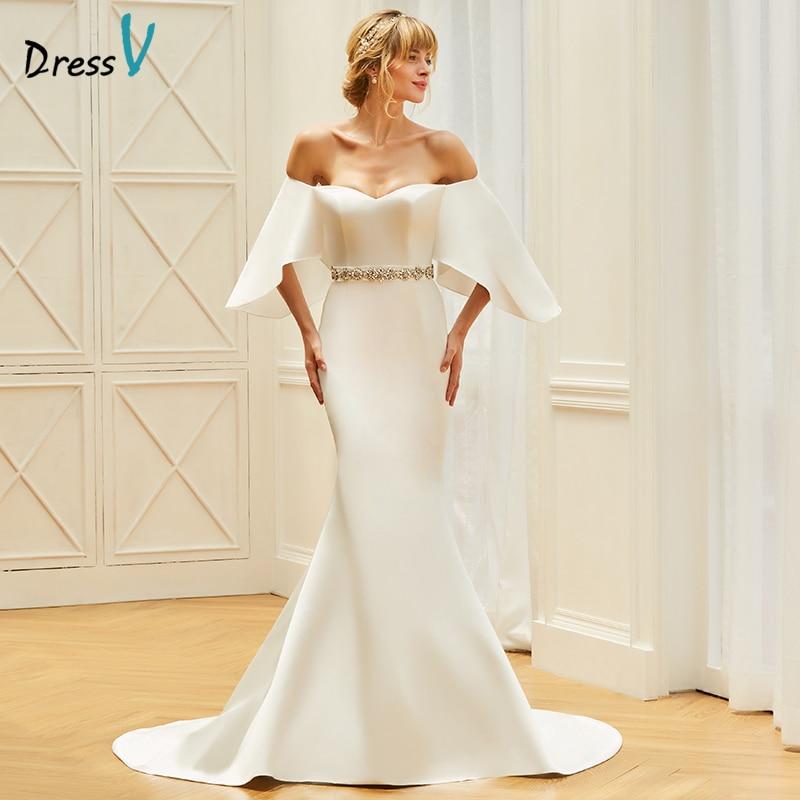 Dressv Sweetheart Neck Mermaid Wedding Dress Three Quarter Sleeves Beading Court Train Church Garden Princess Wedding Dresses