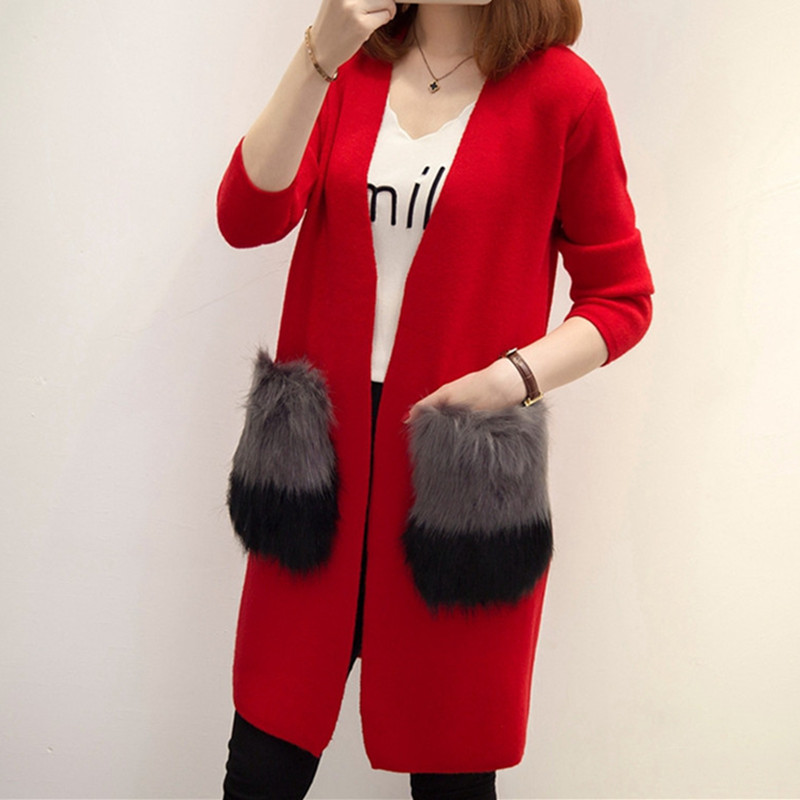 2017 New Fashion Women Autumn Winter Women Cashmere Knitted Female Long Cardigan V neck Casual Loose Sweater Coat