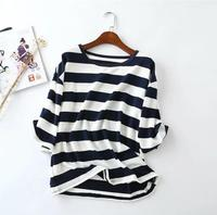 Summer New T Shirt Round Collar Short Sleeved Casual Horizontal Stripes T Shirt Women