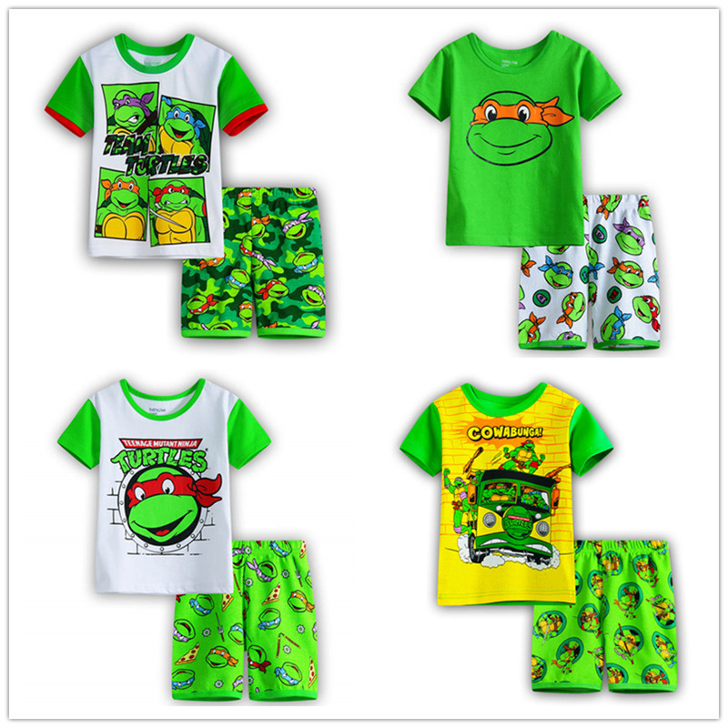 New Boy Cotton Ninja Turtle Game Anime Cosplay Costume Boy Spring And Autumn Short-Sleeved T-Shirt Home Service Cartoon Pajamas