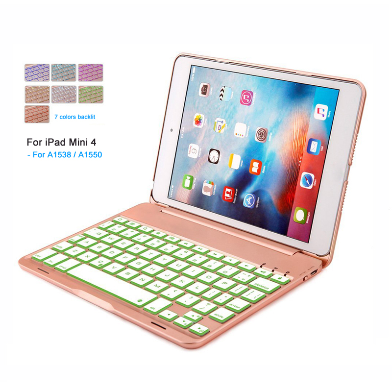 Landas USB Backlit Keyboard For iPad Mini 4 Case Cover Bluetooth Wireless Tablet Keyboard For iPad 7.9 Inch Mini 4 A1538 A1550 7 color backlit aluminum alloy wireless bluetooth keyboard smart case cover for apple ipad mini 4 7 9inch a1538 a1550 coque capa