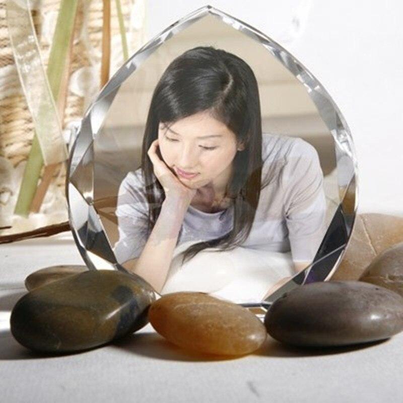 85mm Anpassad Hjärtform Crystal Miniature DIY Bild Klistrad Glas - Heminredning