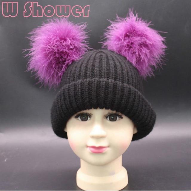 Niños sombrero de invierno con dos Pieles de animales bola niños ...