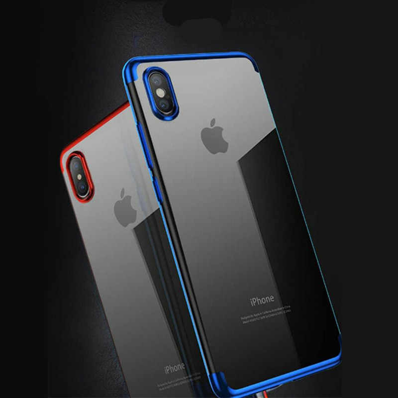 Gradiënt TPU Case Telefoon Case voor iPhone Xs/XR/Xs MAX Plating Gradient Kleur Soft Cover Luxe Case voor iPhone 6 6 s 7 8 plus