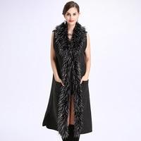 Winter Sleeveless Fox Fur Collar Sweater Women Coat Mujer Poncho Long Large Knit Cardigan Feminino Knitwear Plus Size PC28729