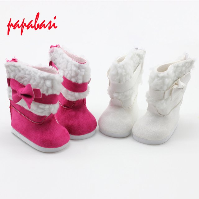 bdb1d727b1dcf Stylish 18 Inch Doll Boots Fits 18 Inch American Girl Dolls & More, Suede  Style Boots W/ Bow & White Fur -in Dolls Accessories from Toys & Hobbies on  ...