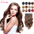 Brazilian Hair Clip Ins Extensiones Body Wave De Pelo 22 24 inches Natural Black Clips In Hair Full Cuticle Clip Hair Extensions