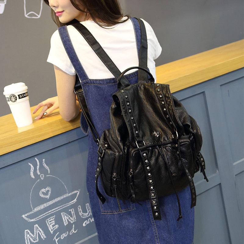 2018 Summer Washed PU Leather Backpack Fashion Female Big Rivet Backpack Teenager Girls Travel Women Backpacks School Bags B-003 стоимость