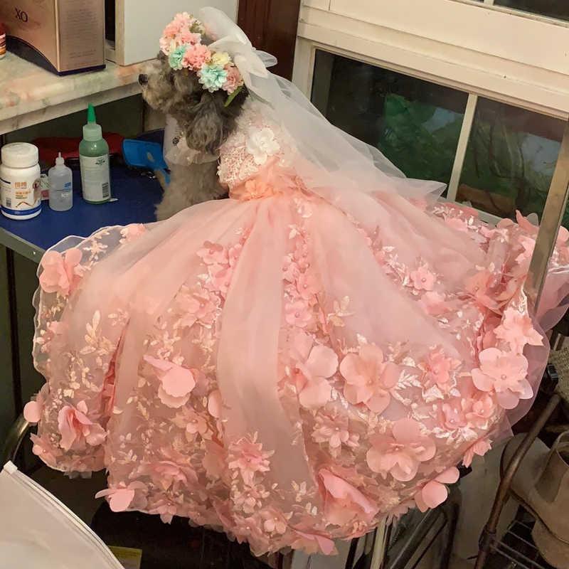 Pet платье в стиле принцессы для собаки Роскошные длинное свадебное платье для маленьких собак, ручная работа, Кружевная аппликация в форме цветка для щенков, одежда юбка с рисунком пуделя для женщин