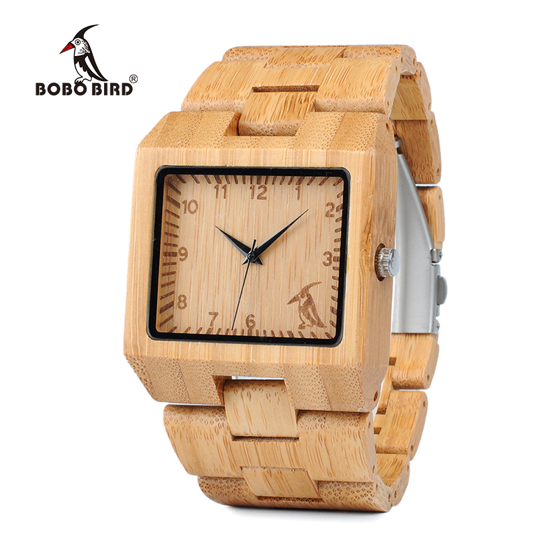 BOBO BIRD WL22L23L24 Nature Bamboo Ebony Zebra Wooden Mens Watches Top Luxury Brand Rectangle Design Wood Band Watch for men bobo bird wh05 brand design classic ebony wooden mens watch full wood strap quartz watches lightweight gift for men in wood box