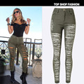 New 2017 Fashion Women High Quality Cotton Denim Army Green High Waist Jeans Female Skinny Pencil Pants Hole Ripped Jeans Womens