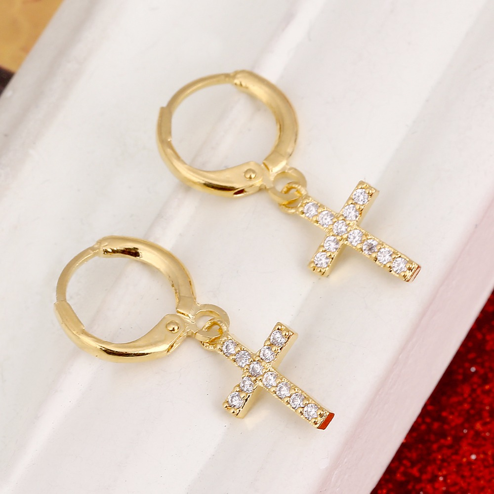 Small Cross Earrings For Women Girl Religious Jesus Stone Earrings Jewelry Crucifix Christian Ornaments