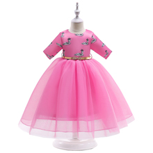 New KidsDresses with Sleeves Spliced Swan Patterns for Campus Performance Summer