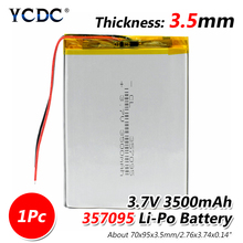 3.7V 3500mah (polymer lithium ion battery) Li-ion battery for tablet pc MP3 MP4 Electric Toy [357095] replace [357090] Batteries цена