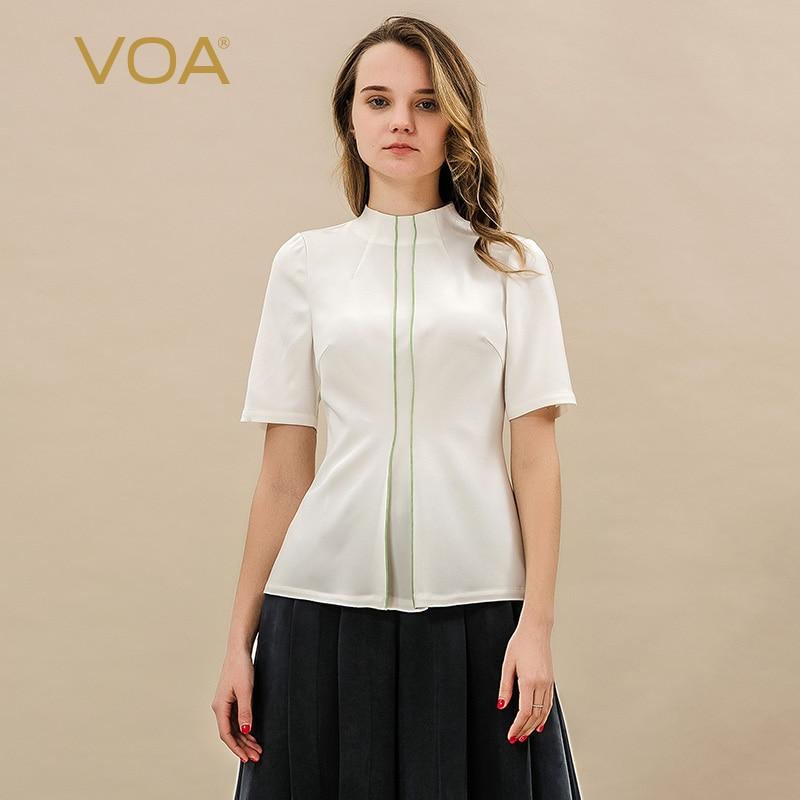 VOA Wit Zware Zijden T-shirt Zomer Korte Mouw Tee Hoge Kwaliteit koszulki damskie Casual Vrouwen Tops Kantoor Dames Basic b9001