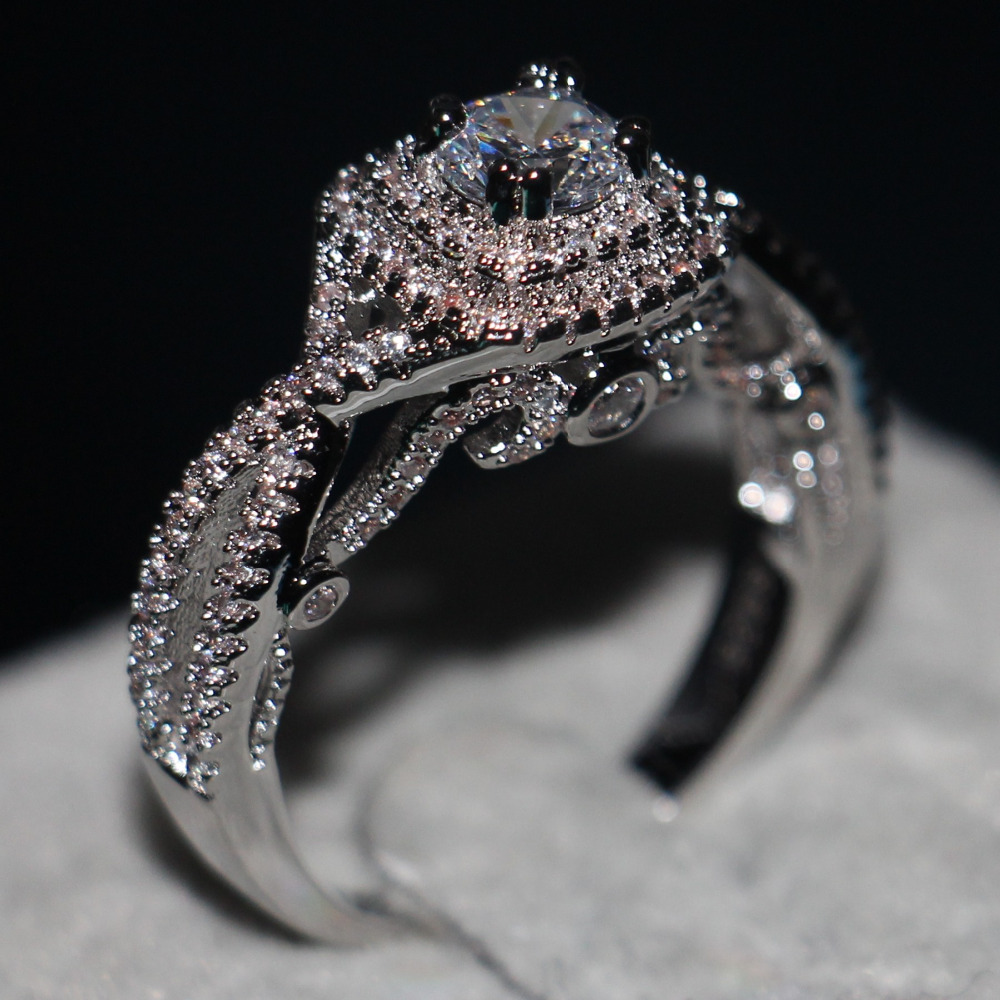 Fashion Women ring Cz 5A Zircon stone Jewelry 925 Sterling Silver Engagement Wedding Band Rings for