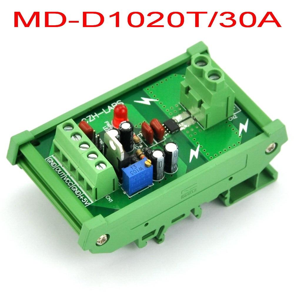 DIN Rail Mount +/-30Amp AC/DC Current Sensor Module, based on ACS712