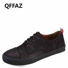 QFFAZ 2018 New Comfortable Casual Shoes Men Shoes High Quality Genuine Leather Shoes Men Flats Moccasins Lace-Up Brand Fashion