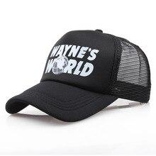 El mundo de Wayne negro sombrero ajustable gorra de béisbol Cosplay bordado  Unisex de malla gorra de Cosplay Prop 1ac513d05b2