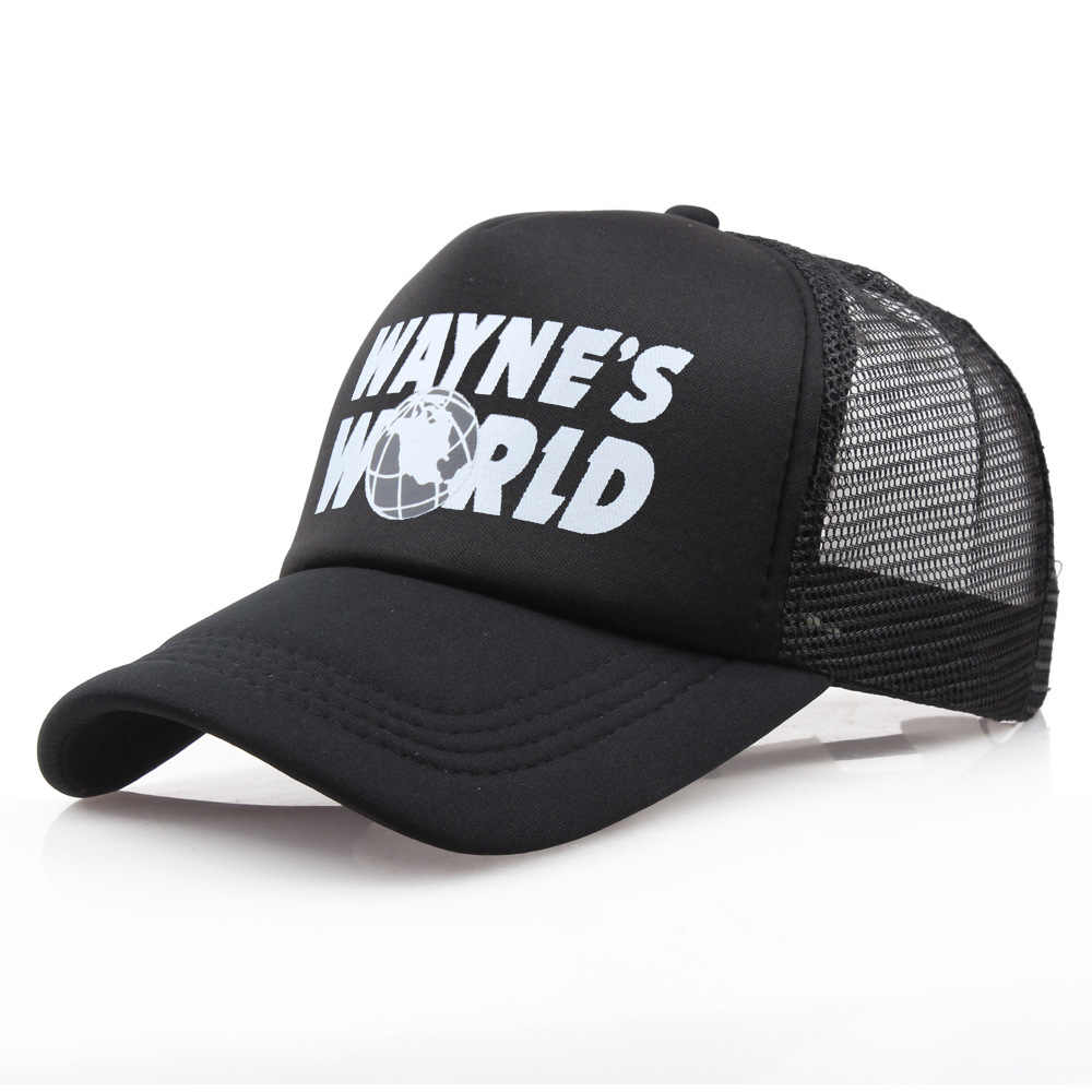 Wayne s World Black Hat Adjustable Baseball Cap Cosplay Embroidered Unisex  Mesh Cap Cosplay Prop 16f71ea25811