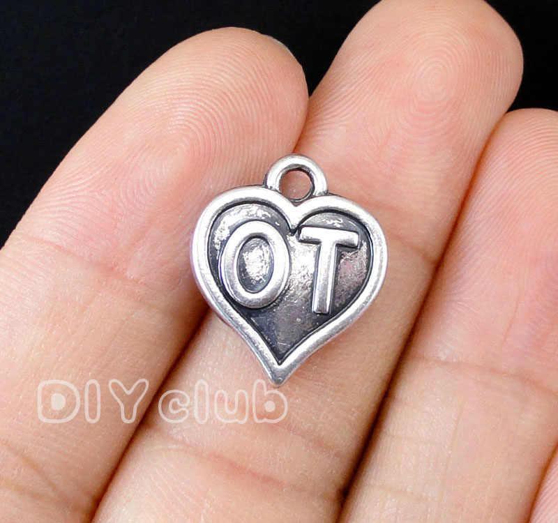 30 X dentro de un corazón en forma de corazón de plata encanto colgante tibetano